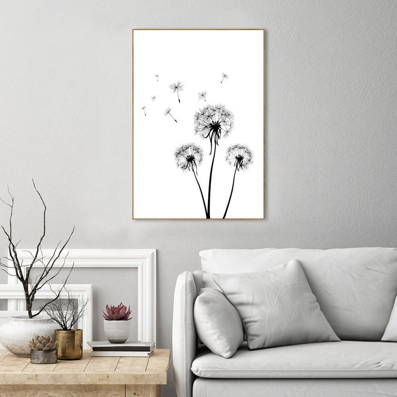 Wall-Art-Poster-Canvas-Framed-Dandelions, Fly With Me-Gioia Wall Art
