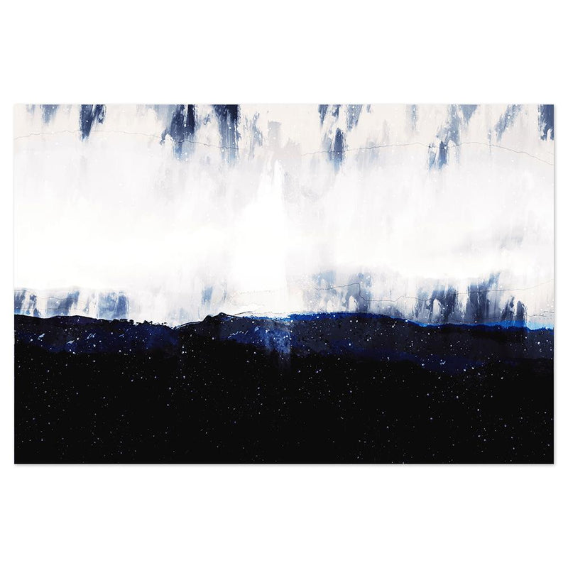 Wall-Art-Poster-Canvas-Framed-Dark Blue Dawn, Abstract landscape-Gioia Wall Art