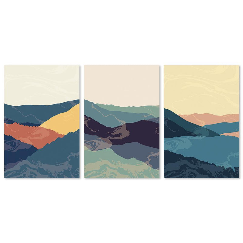 Wall-Art-Poster-Canvas-Framed-Dawn Over The Mountains, Abstract Art, Set Of 3-Gioia Wall Art
