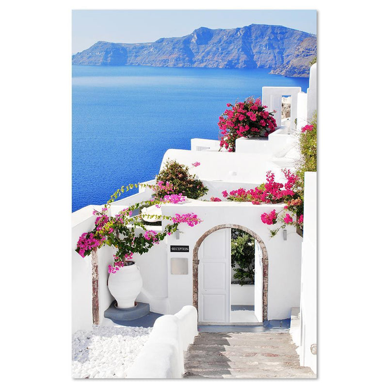 Wall-Art-Poster-Canvas-Framed-Days in Santorini, Greek Island, Beach And Ocean Print-Gioia Wall Art