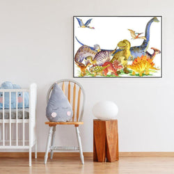 Wall-Art-Poster-Canvas-Framed-Dinosaurs, Watercolour Painting Style-Gioia Wall Art