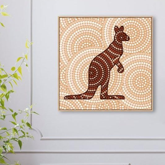 Wall-Art-Poster-Canvas-Framed-Dotted Kangaroo-Gioia Wall Art