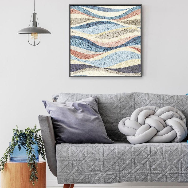 Wall-Art-Poster-Canvas-Framed-Dotted Waves-Gioia Wall Art