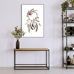 Wall-Art-Poster-Canvas-Framed-Dreamcatcher, boho feathers decoration-Gioia Wall Art