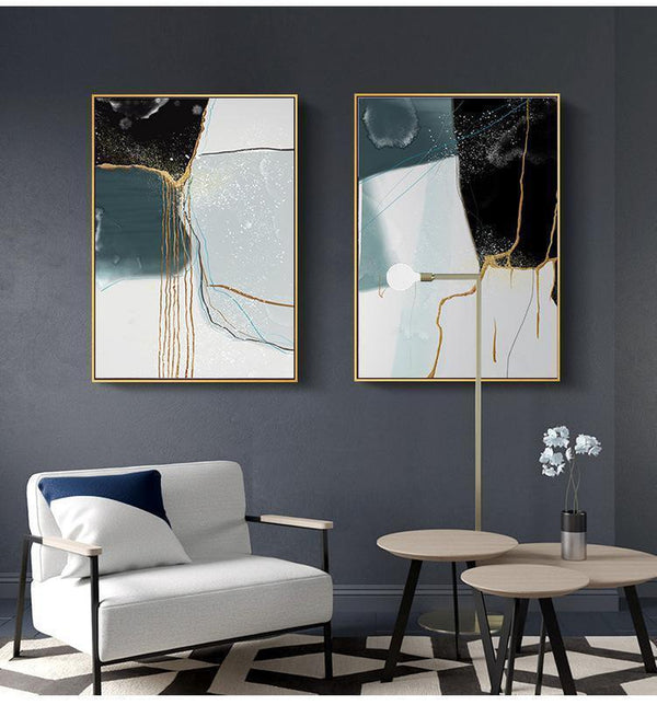 Wall-Art-Poster-Canvas-Framed-Drifting Sand, Abstract Art, Black Blue Gold , Set Of 2-Gioia Wall Art