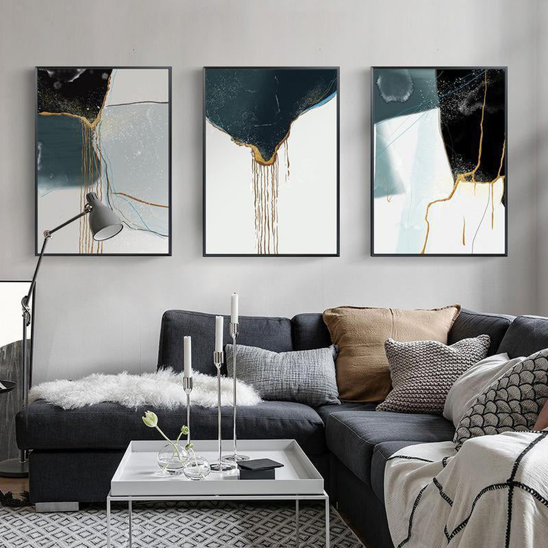 Wall-Art-Poster-Canvas-Framed-Drifting Sand, Abstract Art, Black Blue Gold, Set Of 3-Gioia Wall Art