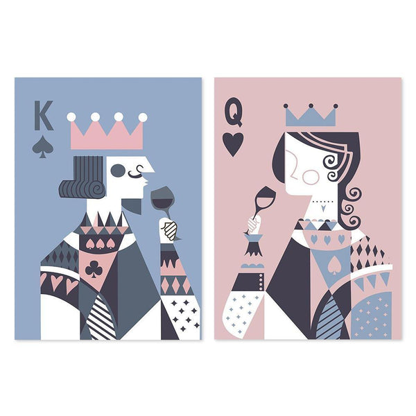 Wall-Art-Poster-Canvas-Framed-Drinking King And Queen, Poker Faces, Pink and Blue, Set Of 2-Gioia Wall Art