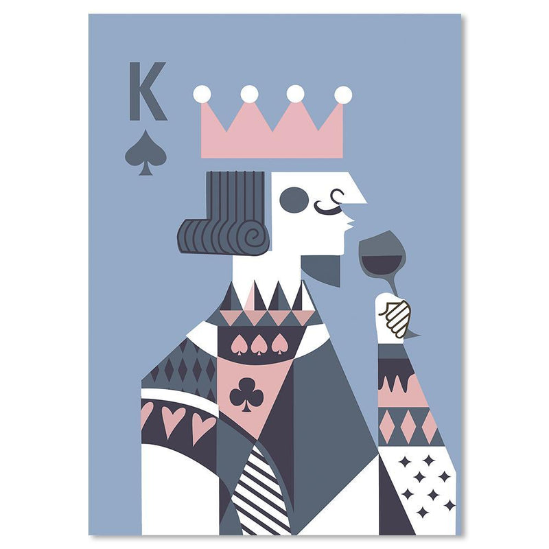 Wall-Art-Poster-Canvas-Framed-Drinking King, Poker Face, Blue and Pink-Gioia Wall Art