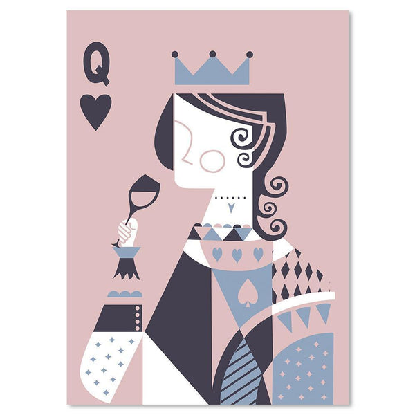 Wall-Art-Poster-Canvas-Framed-Drinking Queen, Poker Face, Blue and Pink-Gioia Wall Art