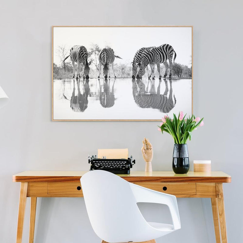 Wall-Art-Poster-Canvas-Framed-Drinking Zebras-Gioia Wall Art