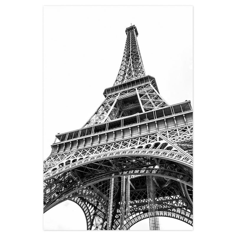 Wall-Art-Poster-Canvas-Framed-Eiffel Tower, Black And White-Gioia Wall Art