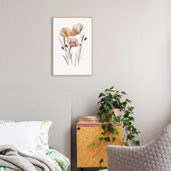 Wall-Art-Poster-Canvas-Framed-Elegant Flowers in pastel colours, watercolour painting style-Gioia Wall Art