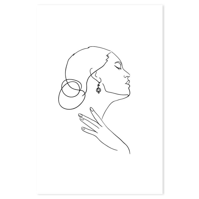 Wall-Art-Poster-Canvas-Framed-Elegant lady, One line drawing, Line art-Gioia Wall Art