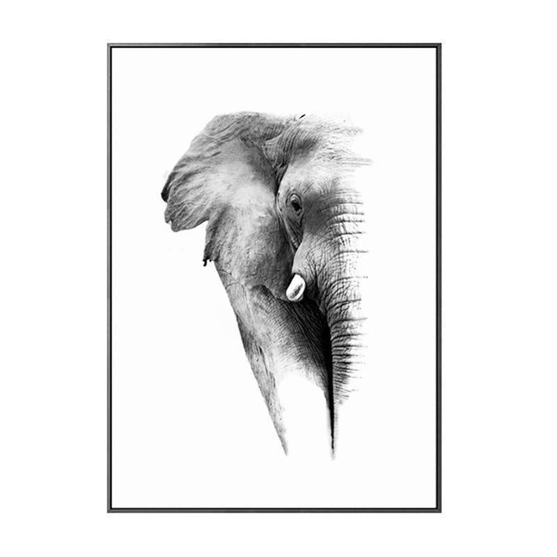Wall-Art-Poster-Canvas-Framed-Elephant, Black And White-Gioia Wall Art