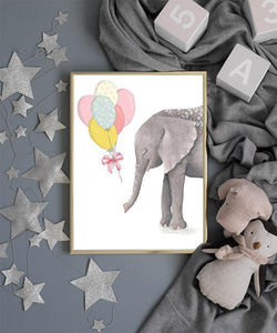 Wall-Art-Poster-Canvas-Framed-Elephant With Balloons-Gioia Wall Art