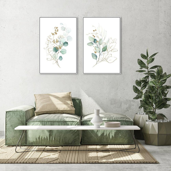 Wall-Art-Poster-Canvas-Framed-Eucalyptus Leaves with Golden Twigs, Set of 2, Style A-Gioia Wall Art