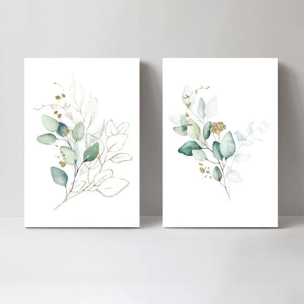 Wall-Art-Poster-Canvas-Framed-Eucalyptus Leaves with Golden Twigs, Set of 2, Style B-Gioia Wall Art