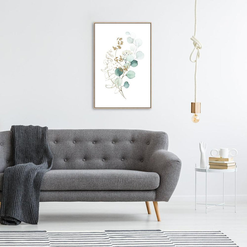 Wall-Art-Poster-Canvas-Framed-Eucalyptus Leaves with Golden Twigs, Style A-Gioia Wall Art