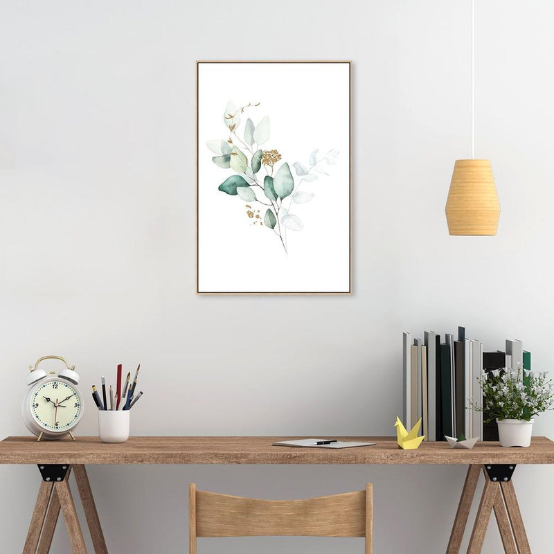 Wall-Art-Poster-Canvas-Framed-Eucalyptus Leaves with Golden Twigs, Style C-Gioia Wall Art