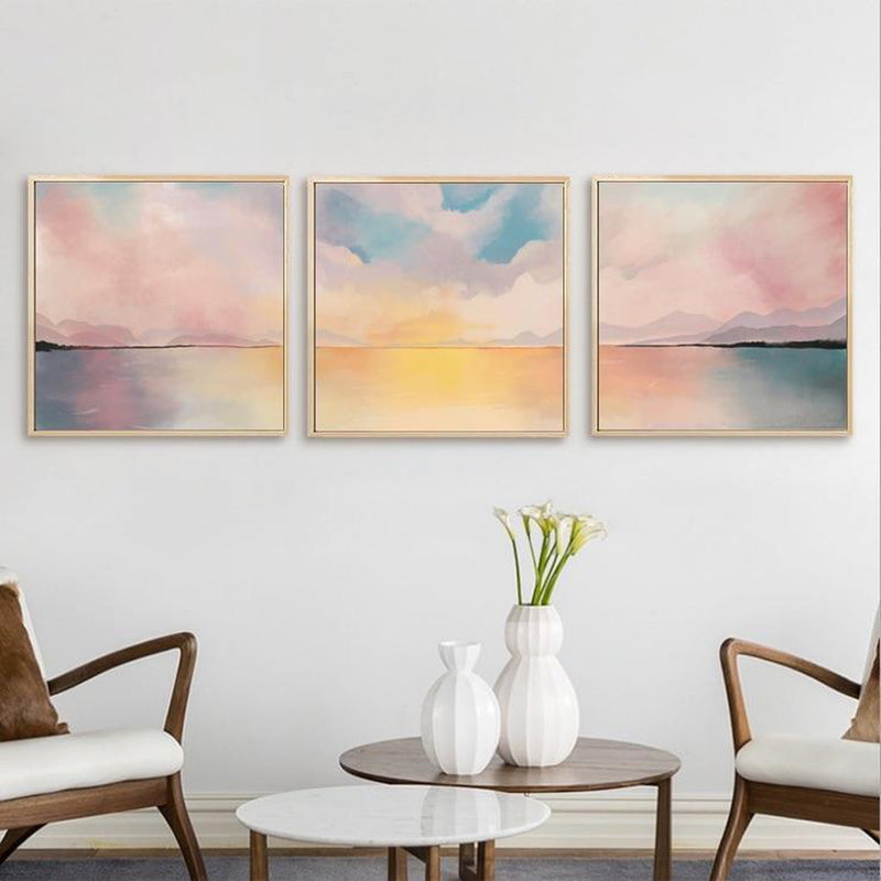 Wall-Art-Poster-Canvas-Framed-Evening Glow, Landscape, Abstract, Set Of 3-Gioia Wall Art