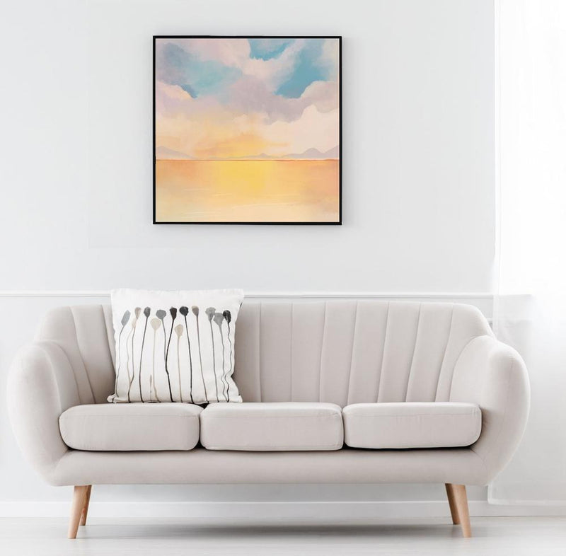 Wall-Art-Poster-Canvas-Framed-Evening Glow, Landscape, Abstract, Style B-Gioia Wall Art