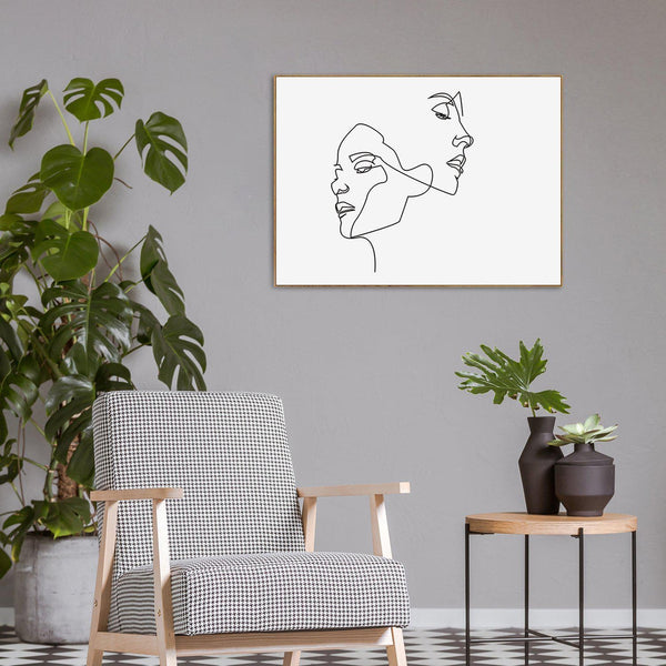 Wall-Art-Poster-Canvas-Framed-Faces And Hairstyle, Continuous Line Art-Gioia Wall Art