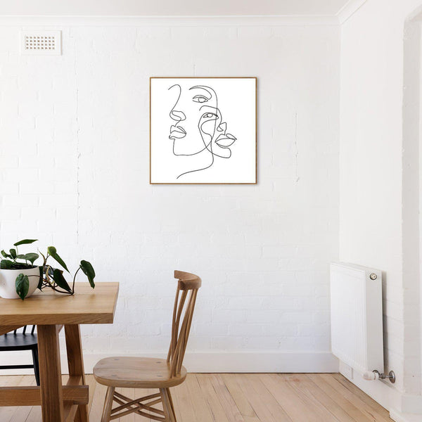 Wall-Art-Poster-Canvas-Framed-Faces and Hairstyle, Continuous Line Drawing, Line Art-Gioia Wall Art