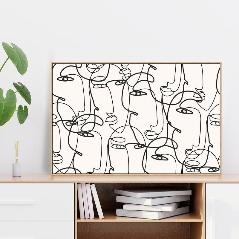 Wall-Art-Poster-Canvas-Framed-Faces, Line Art-Gioia Wall Art