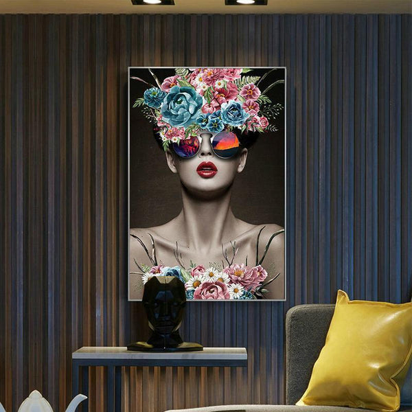 Wall-Art-Poster-Canvas-Framed-Fashion Model With Floral Wreath And Sunglasses-Gioia Wall Art