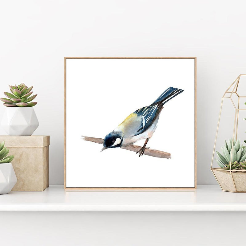 Wall-Art-Poster-Canvas-Framed-Finch, Bird Painting, Watercolour , Style C-Gioia Wall Art