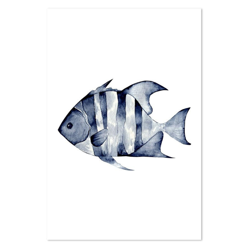 Wall-Art-Poster-Canvas-Framed-Fish in Navy Watercolour-Gioia Wall Art