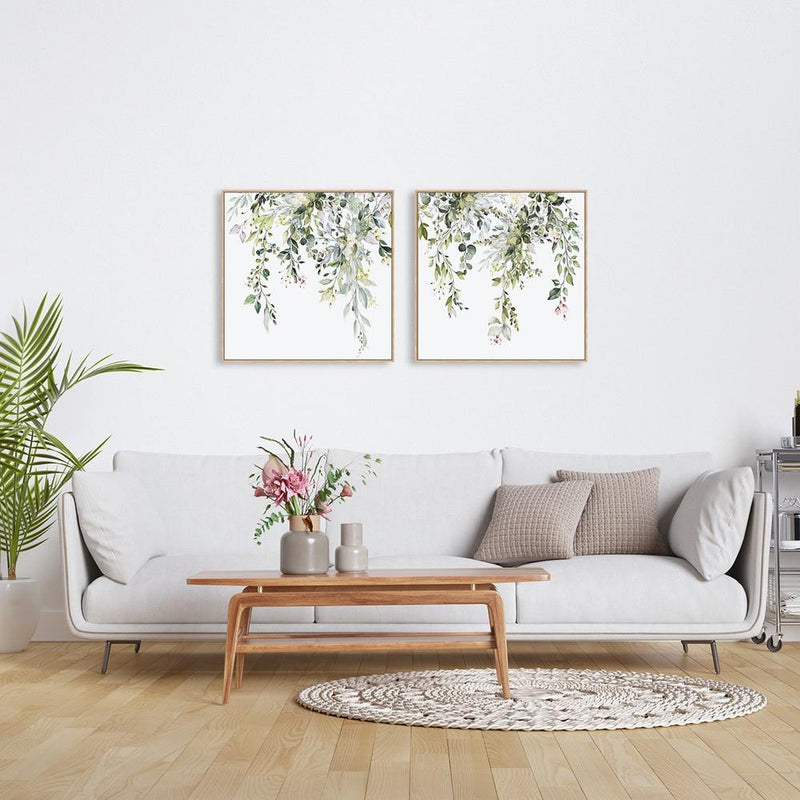 Wall-Art-Poster-Canvas-Framed-Floral twigs in breeze, Set Of 2-Gioia Wall Art