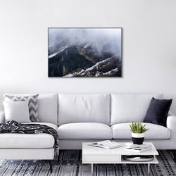 Wall-Art-Poster-Canvas-Framed-Foggy Mountains With Snow-Gioia Wall Art