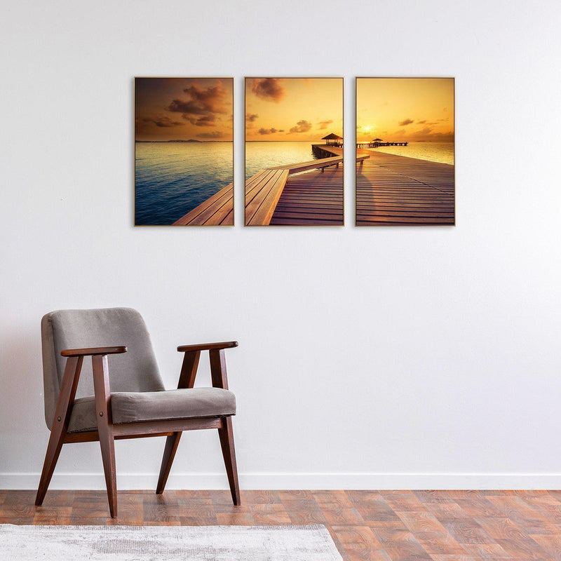 Wall-Art-Poster-Canvas-Framed-Golden Sunset By The Sea, Ocean And Beach Print, Set Of 3-Gioia Wall Art