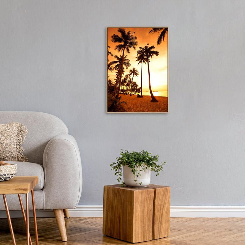 Wall-Art-Poster-Canvas-Framed-Golden sunset glow, palm beach-Gioia Wall Art