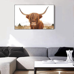 Wall-Art-Poster-Canvas-Framed-Great Hair Don'T Care Yak, Highland Cow, Nature Colour-Gioia Wall Art