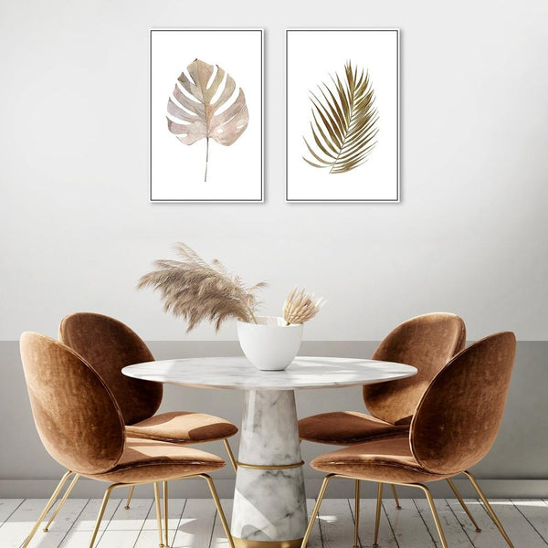 Wall-Art-Poster-Canvas-Framed-Green and Beige Leaf, Set of 2, Style A-Gioia Wall Art