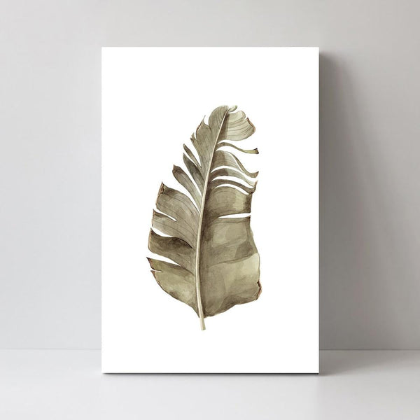 Wall-Art-Poster-Canvas-Framed-Green and Beige Leaf, Style C-Gioia Wall Art
