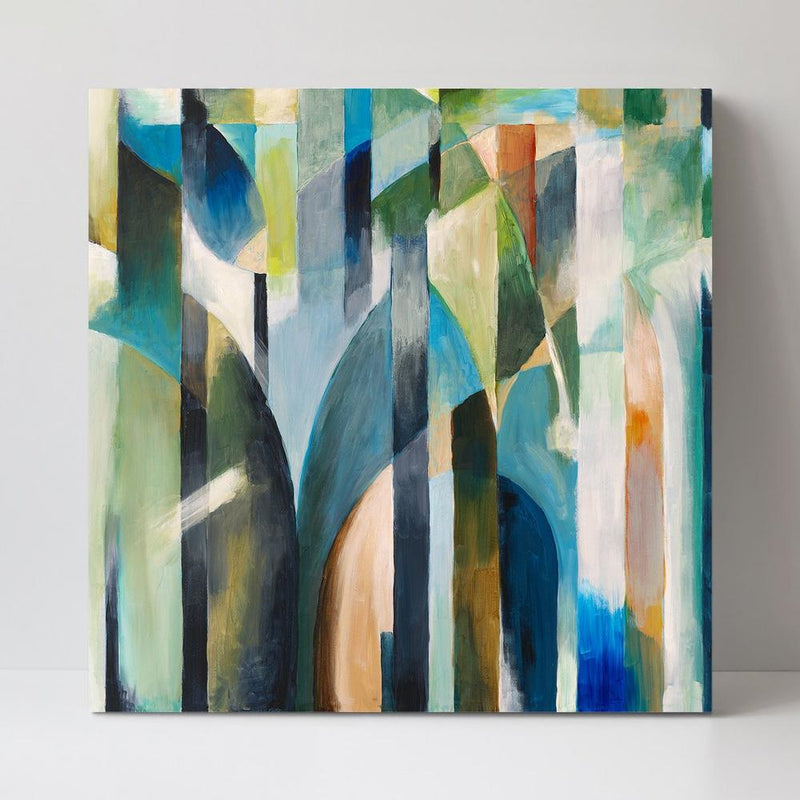 Wall-Art-Poster-Canvas-Framed-Green and Blue Abstract Shapes-Gioia Wall Art