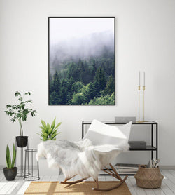 Wall-Art-Poster-Canvas-Framed-Green Nordic Foggy Forest, Style C-Gioia Wall Art