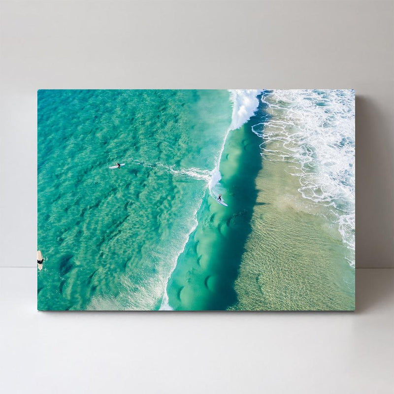 Wall-Art-Poster-Canvas-Framed-Green Ocean and surfers-Gioia Wall Art