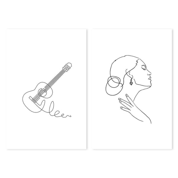 Wall-Art-Poster-Canvas-Framed-Guitar and girl, Set Of 2-Gioia Wall Art
