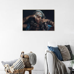 Wall-Art-Poster-Canvas-Framed-Gypsy woman wearing tribal jewellery, style B-Gioia Wall Art