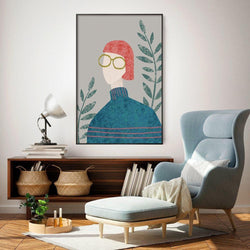 Wall-Art-Poster-Canvas-Framed-Hipsters Series, Style A, A Girl Wearing Red Hair And Glasses-Gioia Wall Art