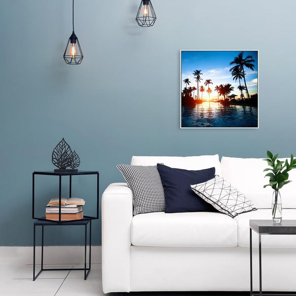 Wall-Art-Poster-Canvas-Framed-Holiday Memory, Palms trees, sunset and pool-Gioia Wall Art
