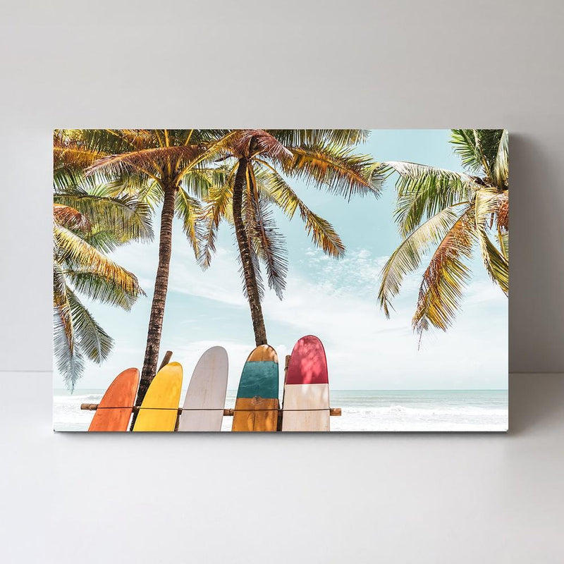 Wall-Art-Poster-Canvas-Framed-Holiday Time, Colourful surfboards and palms trees-Gioia Wall Art