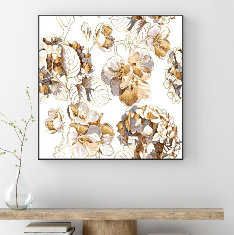Wall-Art-Poster-Canvas-Framed-Hydrangea and Cherry flowers-Gioia Wall Art