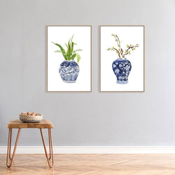 Wall-Art-Poster-Canvas-Framed-Indigo vase and flowers painting, Set of 2-Gioia Wall Art