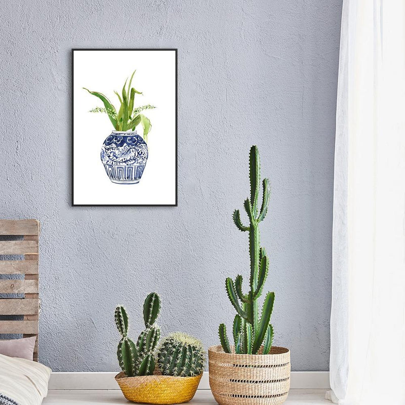 Wall-Art-Poster-Canvas-Framed-Indigo vase and flowers painting, Style A-Gioia Wall Art
