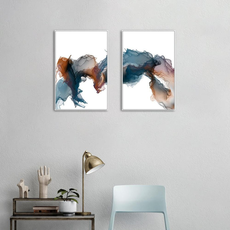 Wall-Art-Poster-Canvas-Framed-Ink Art, Brown and Blue, Set of 2-Gioia Wall Art